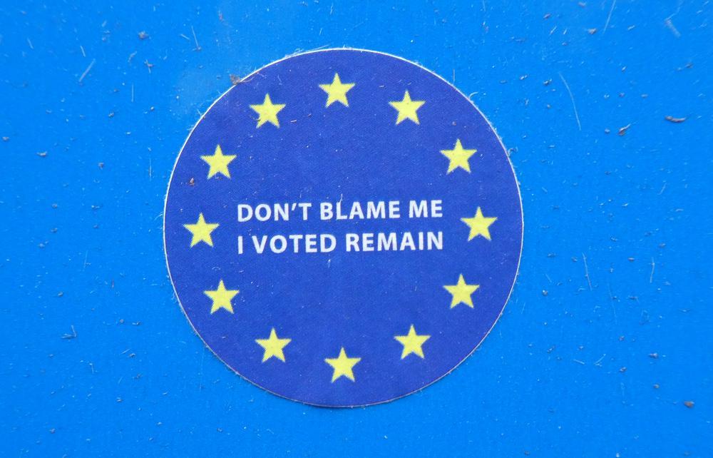 Blaue runde Plakette auf einer blauen Wand mit den Europa-Sternen außen herum und in der Mitte mit dem Text: Don't blame me I voted remain.