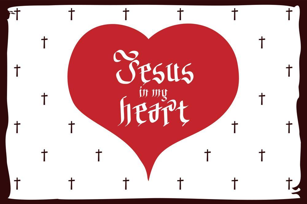 Postkarte mit Kreuzen und Herz, in dem gedruckt steht: Jesus in my heart