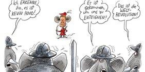 Karikatur von Kevin Kühnert als Robin Hood, der Krieger erschreckt, die als Elefanten dargestellt sind.