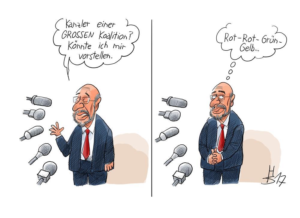 Karikatur mit Martin Schulz am Mikrofon, der sich in Gedanken eine rot-rot-grün-gelbe Koalition wünscht..