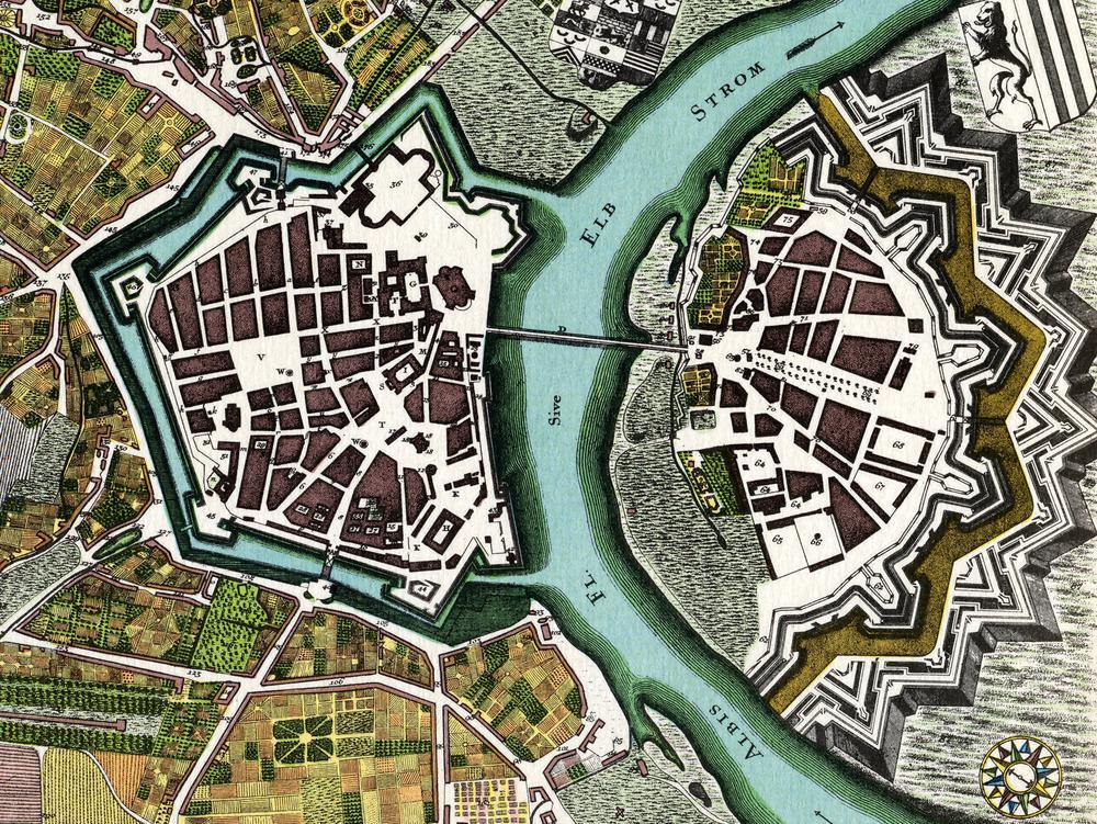 Historischer Kupferstich des Stadtplans von Dresden.