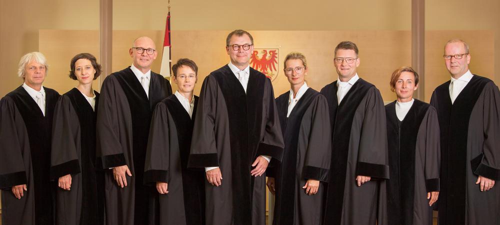 Die Verfassungsrichterinnen und - richter von Brandenburg stehen nebeneinander in Roben, im Hintergrund ist der Adler, das Landessymbol an der Wand zu sehen.