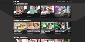 """Bildschirm mit Fenstern der verschiedenen Sendungen von """"Funk"""", dem Internetkanal für junge Zuschauer."""