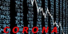 Börsentafel schräg von der Seite aufgenommen mit einer fallenden Kurve der Kurse, auf der Corona steht