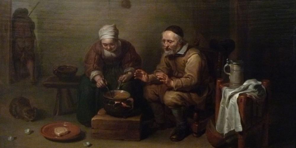 Ölgemälde des flämischen Barockmalers Willem van Herp mit zwei alten Menschen, die Suppe in einem Topf auf offenem Feuer kochen.