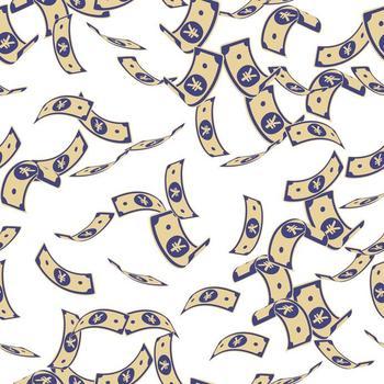 Grafik von Yuan-Geldscheine, die in der Luft schweben.