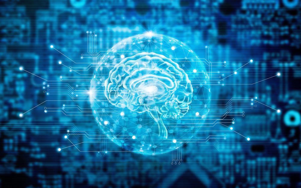 Blaues Bild, auf dem hinter einer Platinen-Struktur ein Gehirn skizziert ist.