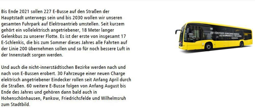 Text, in dem angekündigt wird, dass bald mehr Busse mit Srom fahren werden, mit einem gelben Bus daneben.