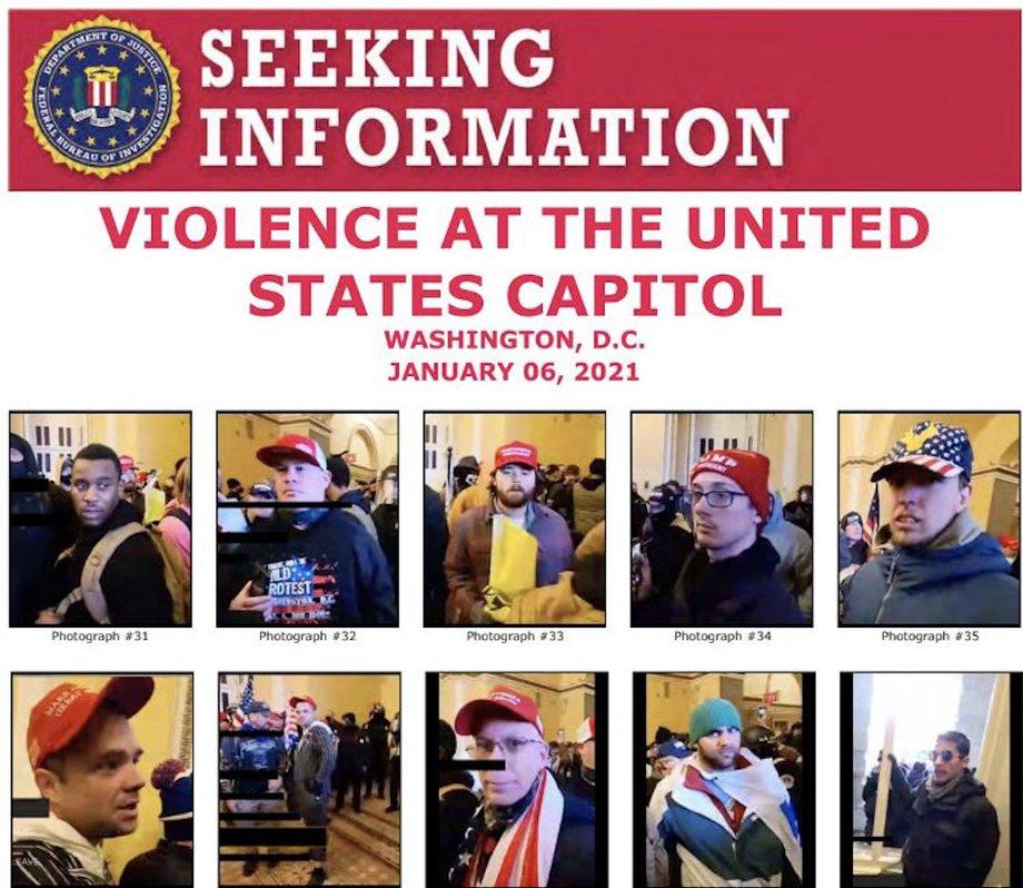 Fahnundungsplakat des FBI mit Abbildungen der Männer, die das Kapitol in Washington gestürmt haben.