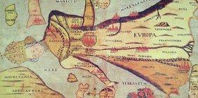 Europa regina. Mittelalterliche Darstellung der europäischen Karte als Frau.