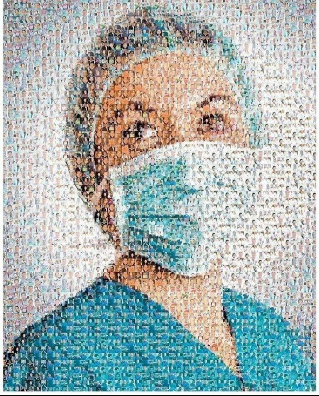 Collage aus Fotos, das insgesamt den Kopf einer Krankenschwester mit Gesichtsmaske ergibt.