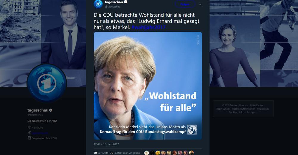 Tweet der Tagesschau mit einem Foto von Angela Merkel aus dem Jahr 2017.