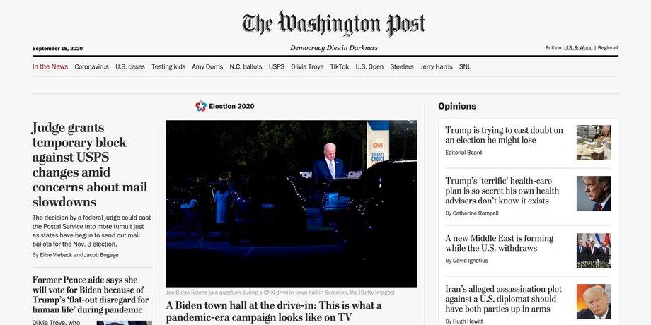 Internetseite der Washington Post mit einem Foto von Joe Biden bei einer Rede, das in der Mitte steht, rechts und links daneben Texte sowie Links zu weiteren Texten.