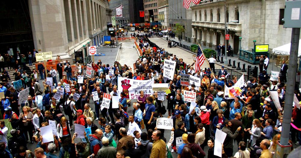 Protestmarsch in der Wall Street.