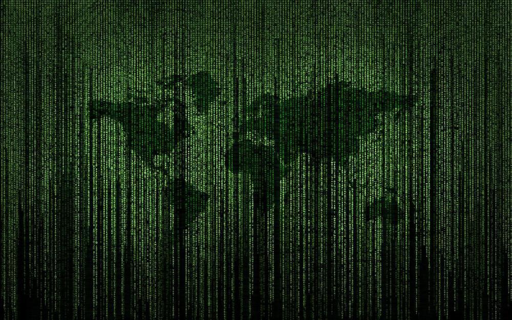 Matrix Code in grün mit schematisch zu erkennender Weltkarte, die leich hervorgehoben ist.