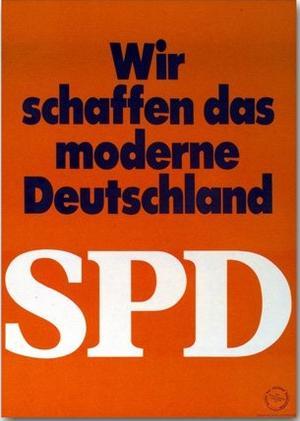 SPD-Wahlplakat in Rot von 1969 mit der Aufschrift: Wir schaffen das moderne Deutschland.