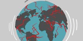 Zeichnung: Weltkugel mit roten Blitzen