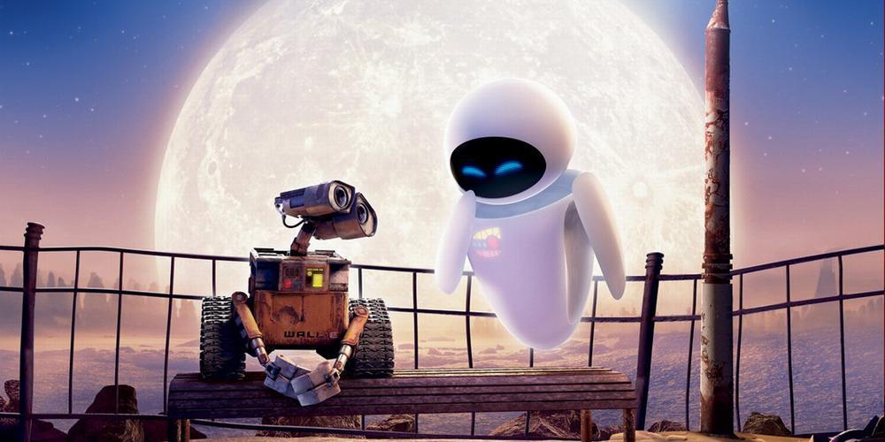 Bild aus dem Film Wall-E mit den Robotern Wall E und Eve.