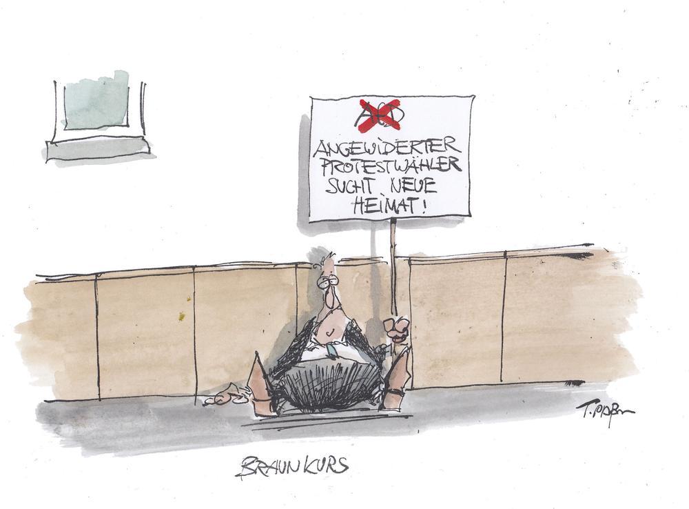 Karikatur eine Mannes, der auf dem Boden sitzt und ein Schild hochhält, auf dem steht: Angewiderter Protestwähler sucht neue Heimat.