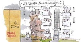 """Karikatur von einem schwer beladenen Paketboten, dem die Mieter eines Hauses von ihren Balkonen """"Wir sagen Dankeschön"""" entgegensingen."""