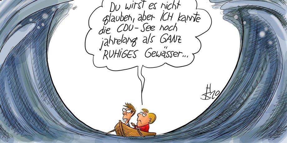 Karikatur von Angela Merkel und Annegret Kramp-Karrenbauer in einem kleinen Boot, das rechts und links von hohen Wellen bedroht wird.