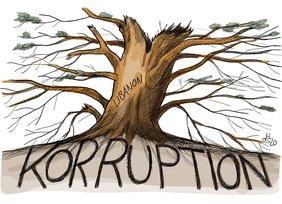 Karikatur mit einem Baum, der in der Erde wurzelt, auf der Korruption steht.