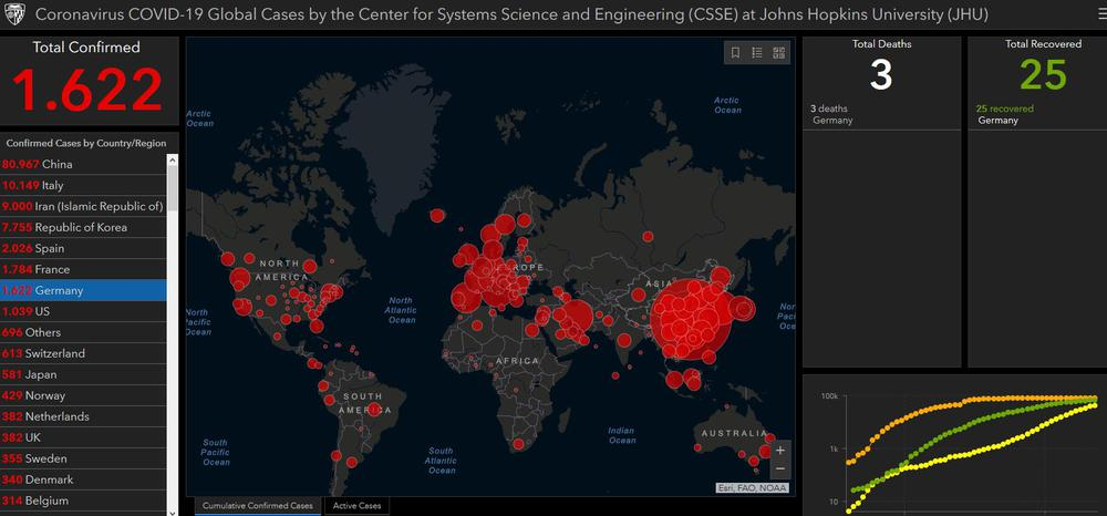 Eine Weltkarte mit den aktuellen Zahlen zu den Corona-Erkrankungen. Rote Kreise markieren die besonders betroffenen Gegenden.