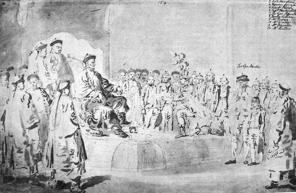 Zeichnung vom Besuch eines britischen Gesandten im 18. Jahrhundert am Fuße eines erhaben thronenden chinesischen Kaisers, umgeben von Gefolgsleuten.