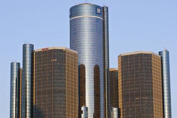 General Motors Zentrale in Hochhäusern in Detroit.