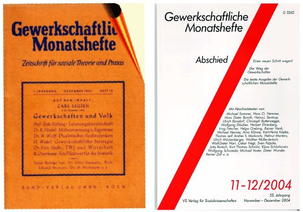 Gewerkschaftliche Monatshefte: Titel erste und letzte Ausgabe