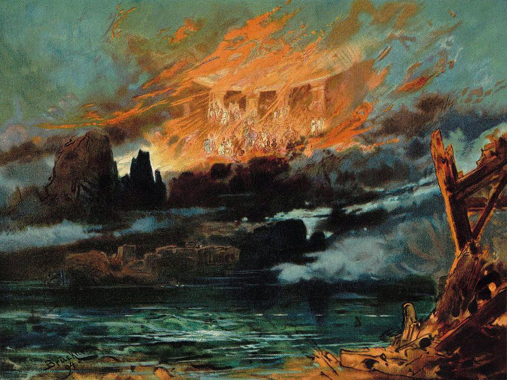 Gemälde eines brennenden Gebäudes, das wie ein Tempel aussieht, hinter sich überschlagenden Wellen.