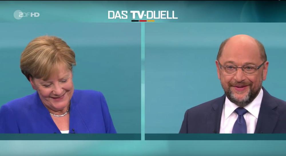 Angela Merkel und Martin Schulz bei der TV-Debatte