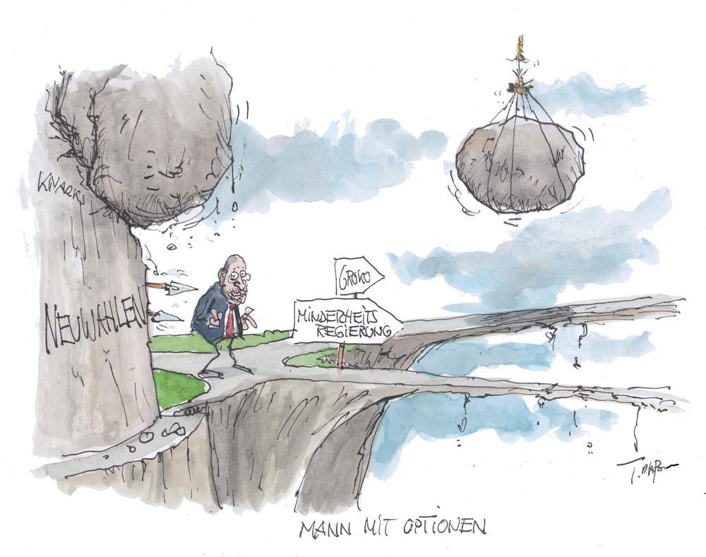 Karikatur von Martin Schulz, der zwei Steinbrücken vor sich hat, beide ohne Geländer. Von oben droht ein Stein, auf ihn zu stürzen.