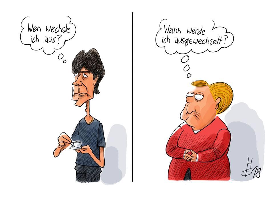 Karikatur mit Jogi Löw links und Angela Merkel rechts