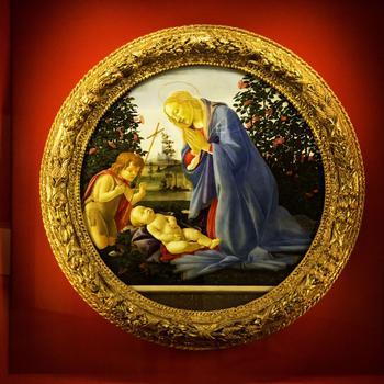 Rundes Gemälde von Sandro Botticelli mit Maria und dem Jesuskind