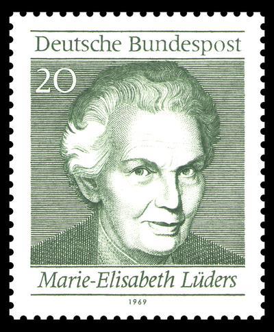 20-Pfennig-Briefmarke mit dem Kopf von Marie-Elisabeth Lüders.