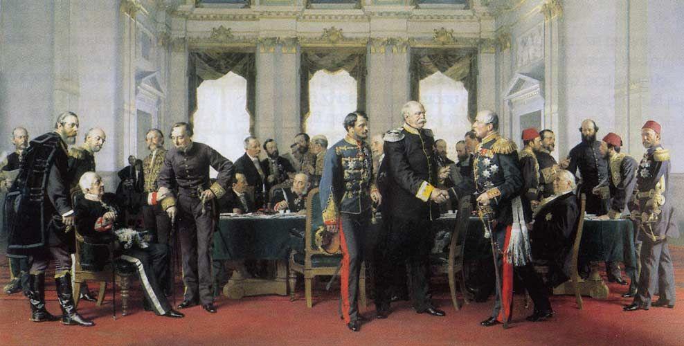 """Anton von Werners Gemälde """"Berliner Kongress"""" mit Otto von Bismarck im Zentrum."""