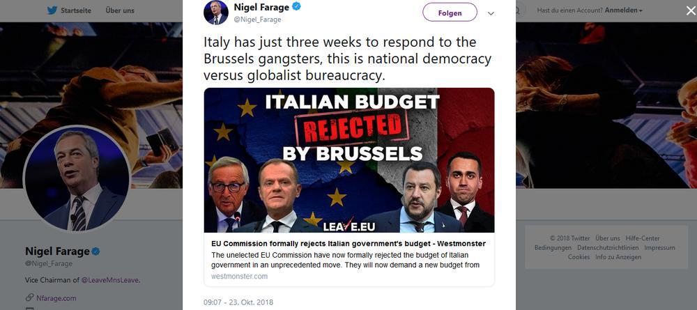 Tweet des englischen Rechtspopulisten Nigel Farage.