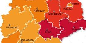 Ausschnitt aus einer Deutschlandkarte