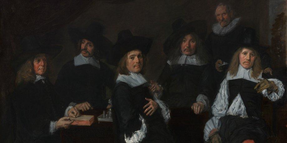 Gemälde von Frans Hals von 1664, das die stolzen Mitglieder des Verwaltungsrates eines Armenhauses zeigt.