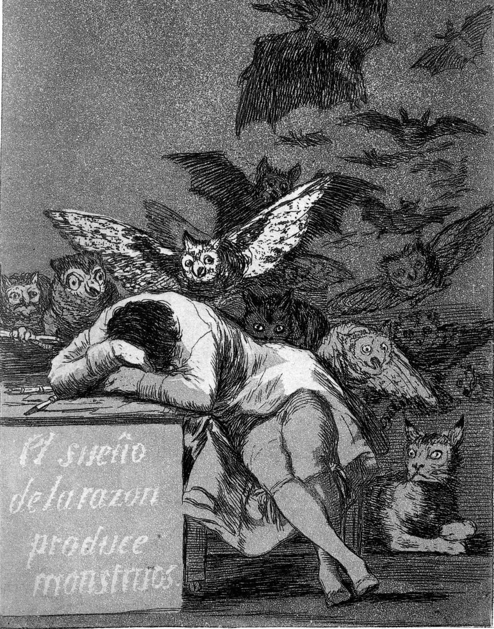 """Ausschnitt aus Goyas Gemälde """"Der Schlaf der Vernunft"""", auf dem ein Mann seinen Kopf auf einen Tisch gelegt hat und schläft. Düstere Monster, teils in Fledermausgestalt umkreisen ihn."""