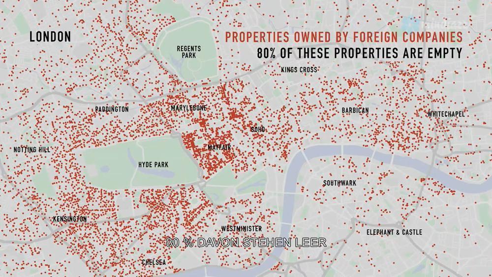Karte von London mit roten Punkten, die Häuser markieren, die ausländischen Investoren gehören.
