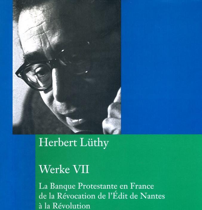 """Buchumschlag in Grün und Blau von Herbert Lüthy Hauptwerk """"Banque protestante"""""""