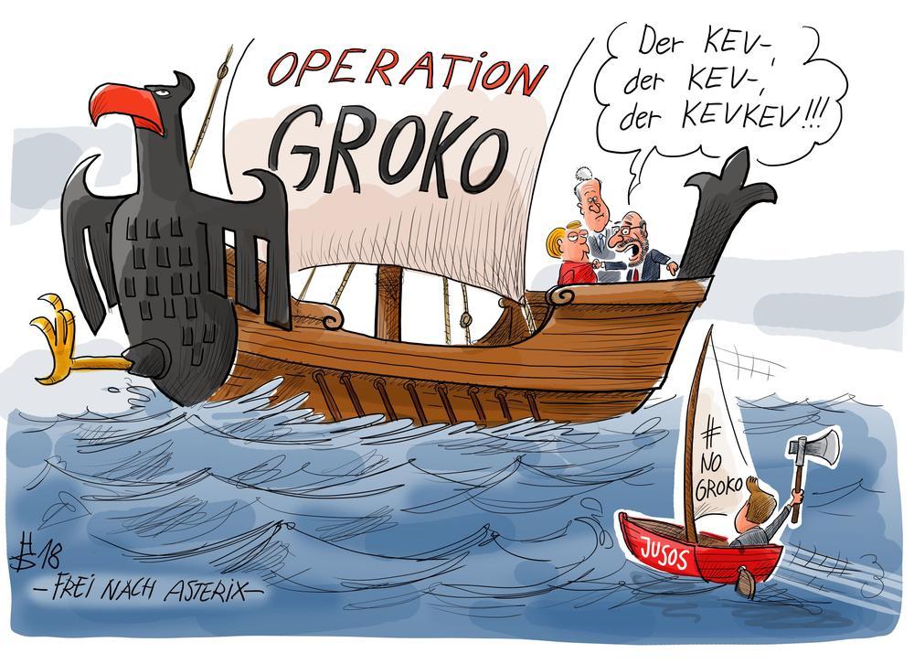 """Karikatur von einem großen Segelschiff mit der Aufschrift """"Operation Groko"""" wird von einem Ruderboot mit der Aufschrift """"Jusos, #NoGroKo"""