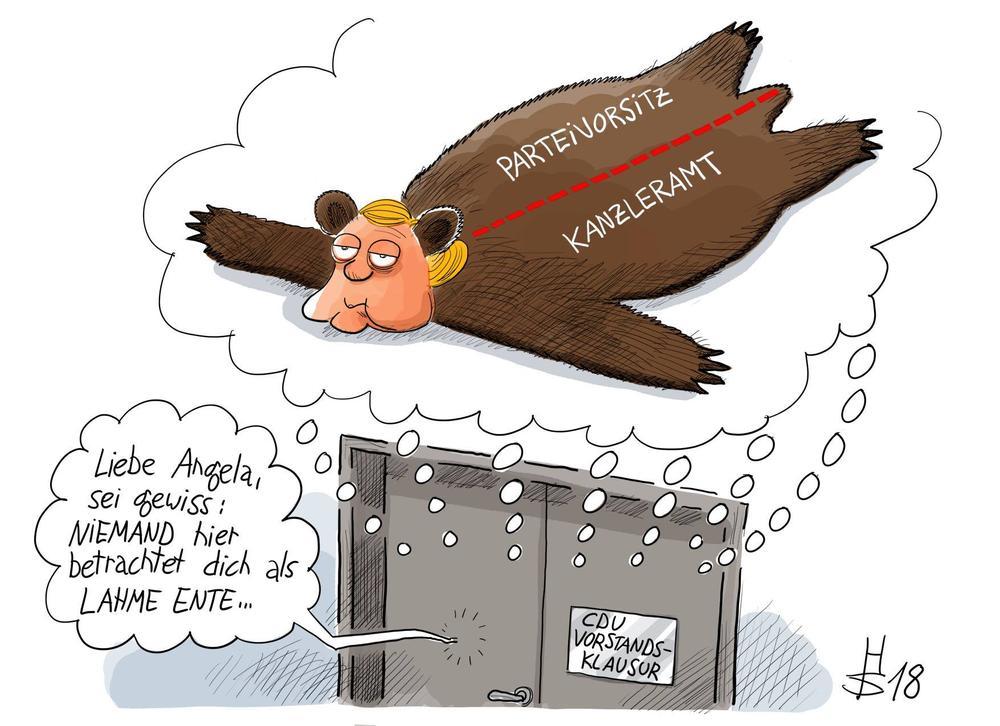 Karikatur, die Kanzlerin Merkel als erlegten Bären zeigt, dessen Fell mit einer roten Linie geteilt wird. Auf der einen Seite steht Parteivorsitz, auf der anderen Kanzleramt.