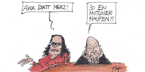 Karikatur von Andrea Nahles und Olaf Scholz, die frustiert an einem Tisch sitzen.