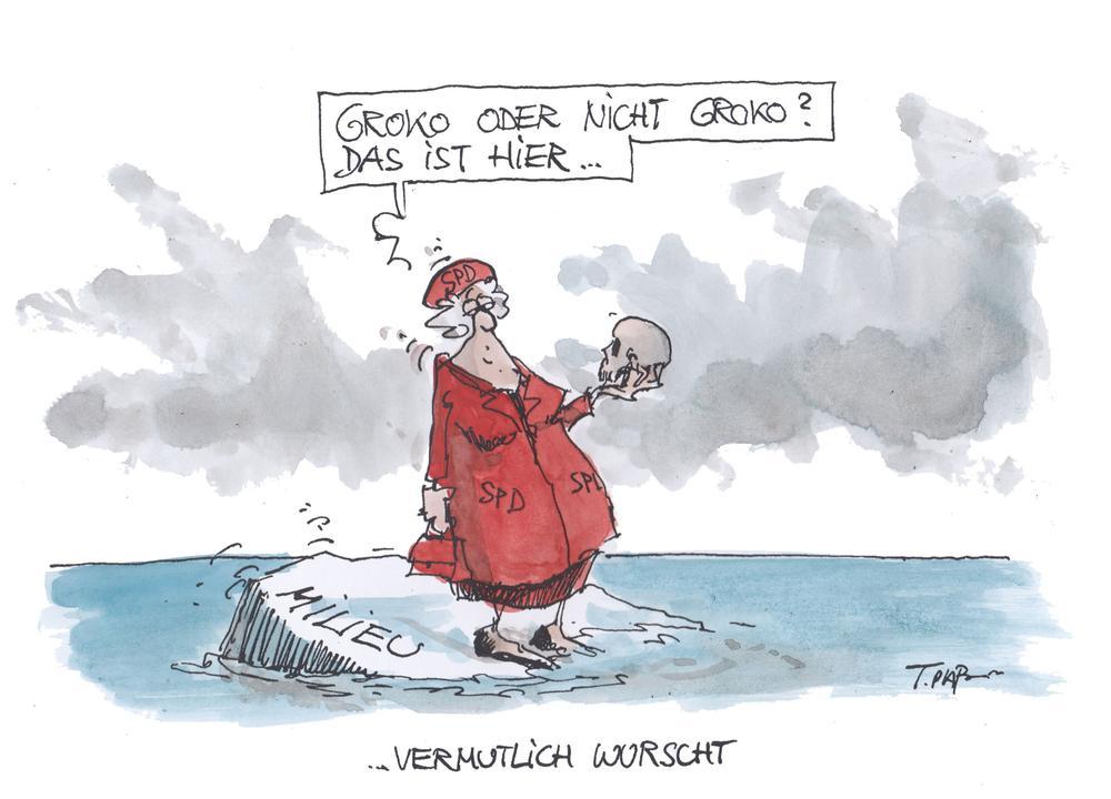 Karikatur von einer Frau, die auf einer schmilzenden Eisscholle im Meer steht. Auf ihrem roten Mantel steht SPD.