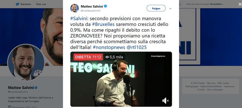 Tweet von Matteo Salvini zum italienischen Haushalt.