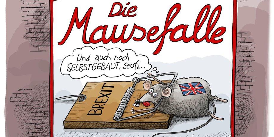 Karikatur von einer Maus, die in einer Falle feststeckt, auf der eine englische Flagge zu sehen ist.