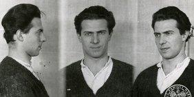 Drei Polizeifotos von Karol Modzelewski aus dem Jahr 1964